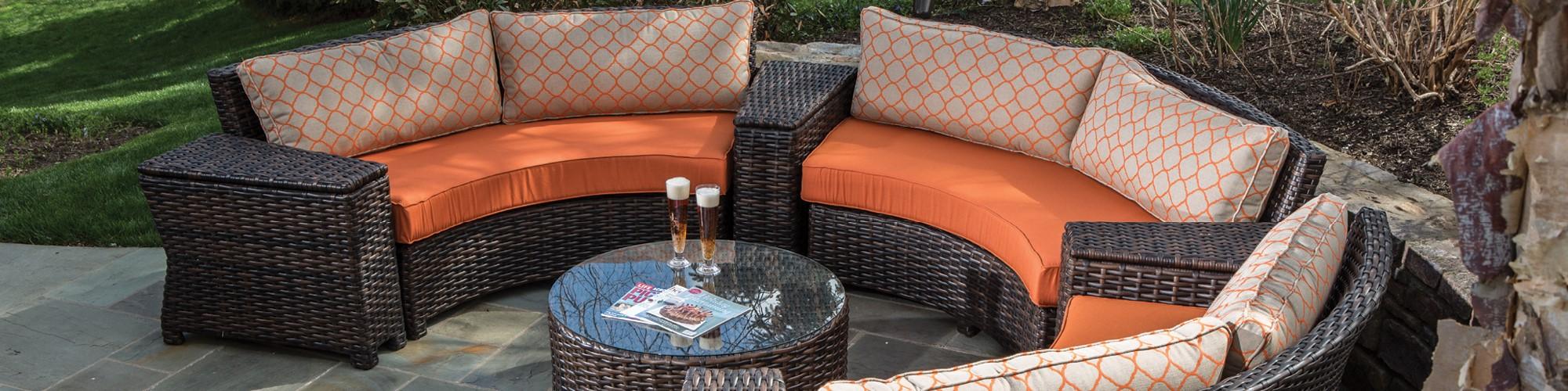 Outdoor furniture in a backyard setting.