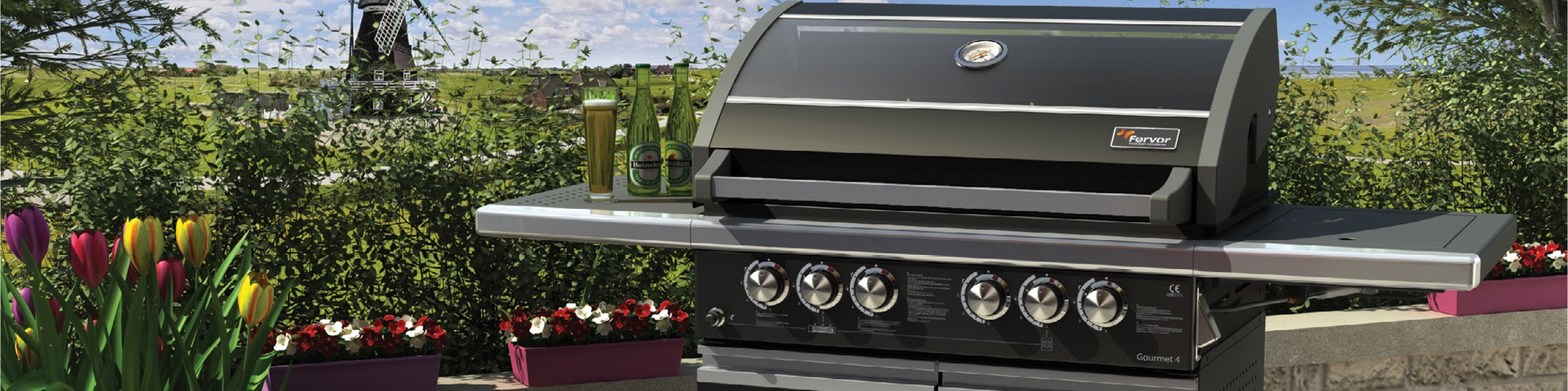 A photo of a barbeque in a country backyard setting.